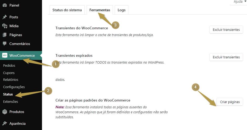 Ativar o menu padrão do Woocommerce